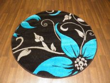 MODERN NEW 120X120CM CIRCLE RUGS WOVEN BACK HAND CARVED BLACK/TEAL LILY LOVLEY